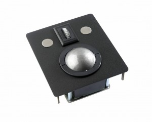 Trackball enhed med lasertrackball og IP68 taster, til panelmontage. Tæthedsgrad IP68. Fås med stål eller sort montageplade.